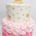 two tier cake with rosettes and stars and pink ombre