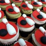 Bowling Fondant Cupcakes